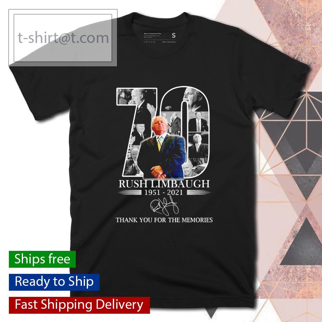 Rush Limbaugh 1951-2021 Thanks for the memories signature shirt