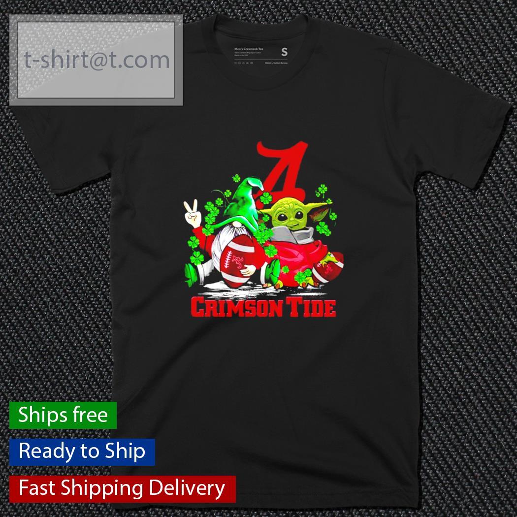 St.Patrick's day Gnome and Baby Yoda Alabama Crimson Tide shirt