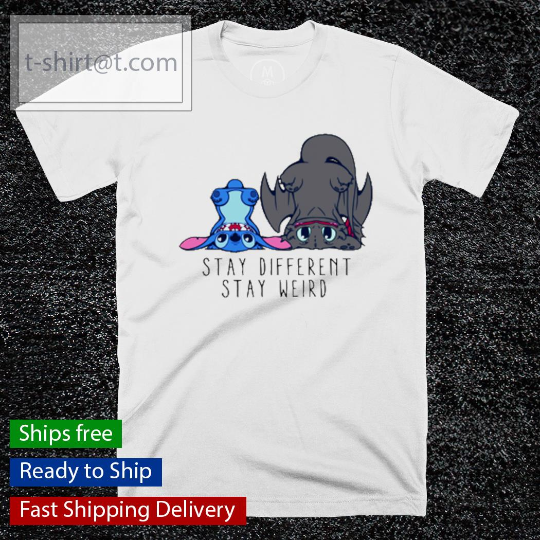 Stitch and Toothless Stay different stay weird white t-shirt