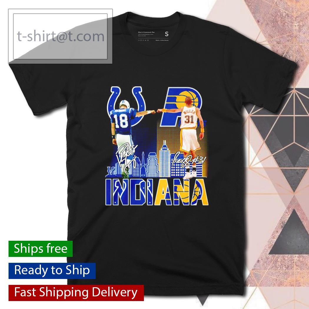 Indiana Peyton Manning Reggie Miller signatures shirt