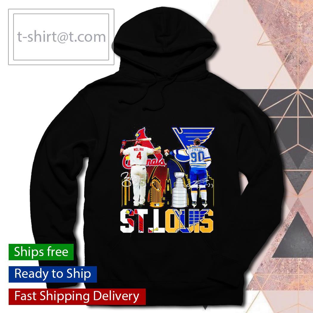 St Louis Yadier Molina Ryan O'Reilly signatures s hoodie