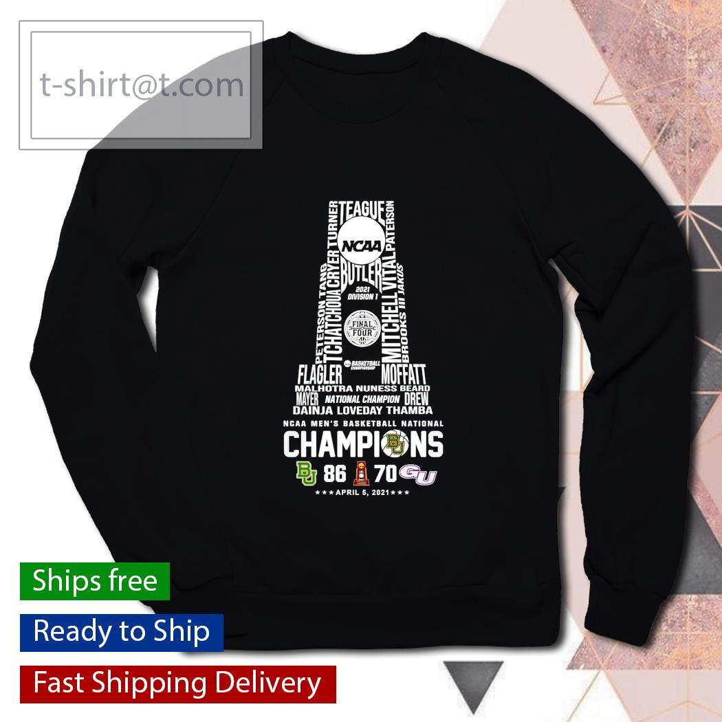 2021 Division 1 Baylor Bears NCAA Men's Basketball National Champions 86 70 Gonzaga Bulldogs sweater