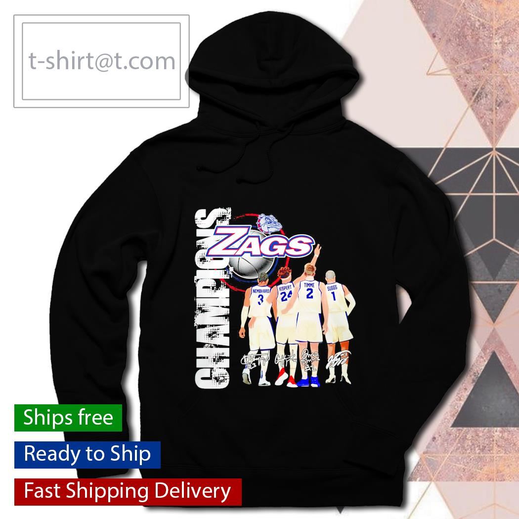 Gonzaga Bulldogs Zags with Nembhard Kispert Timme and Suggs Champions signatures hoodie