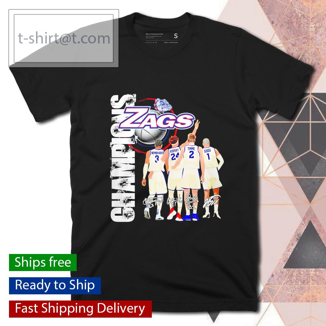 Gonzaga Bulldogs Zags with Nembhard Kispert Timme and Suggs Champions signatures shirt
