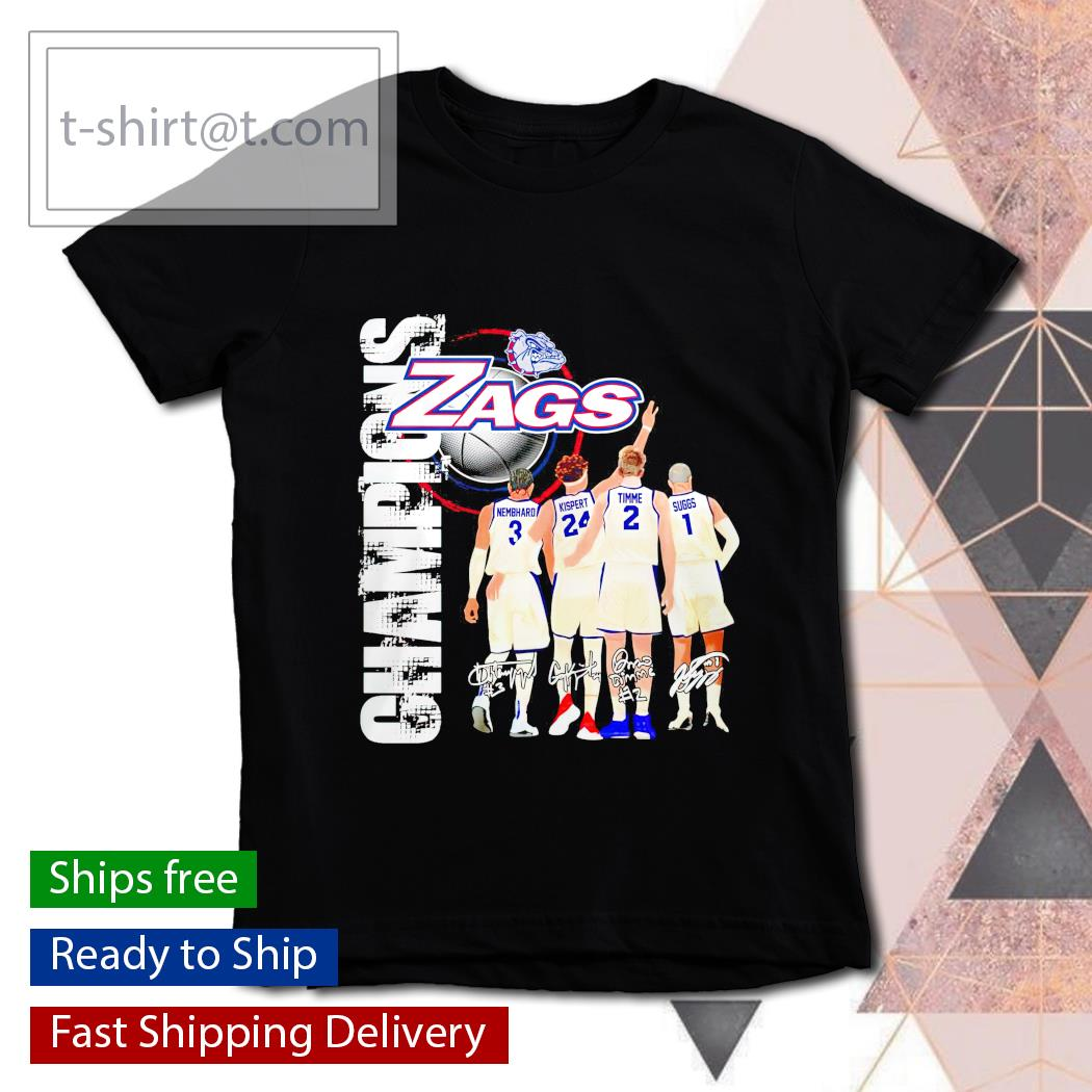 Gonzaga Bulldogs Zags with Nembhard Kispert Timme and Suggs Champions signatures youth-tee