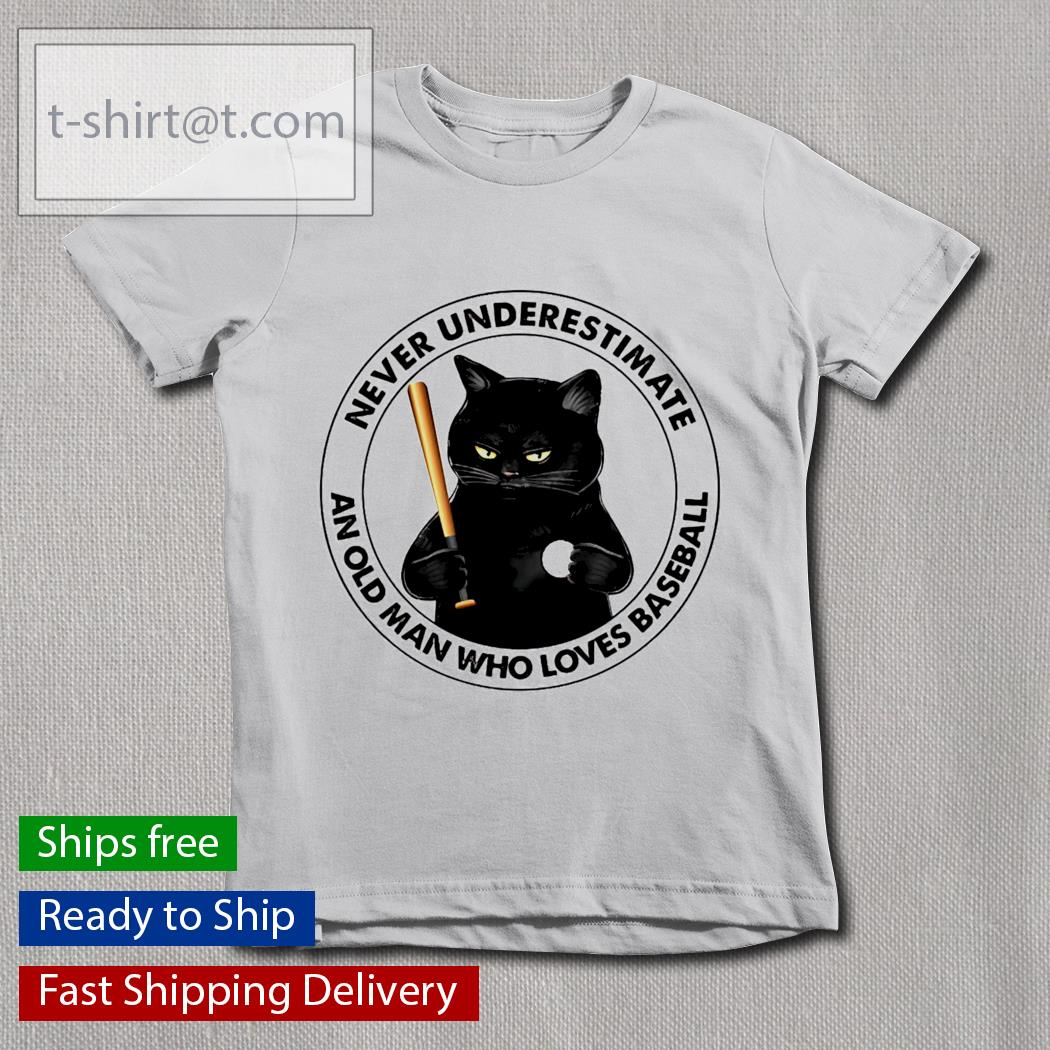 Black Cat and baseball never underestimate an old man with a baseball youth-tee