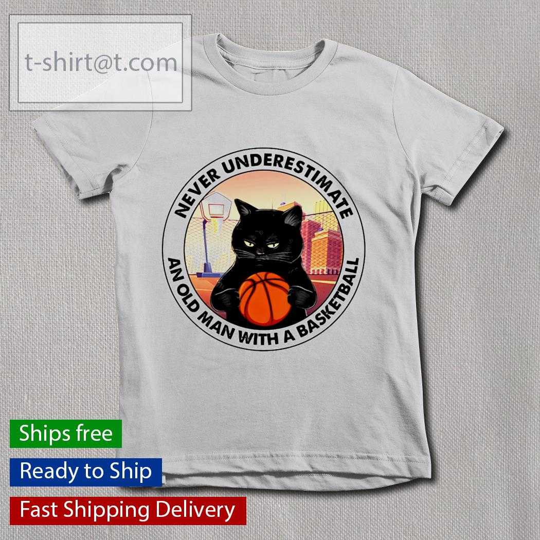 Black Cat and basketball never underestimate an old man with a basketball youth-tee