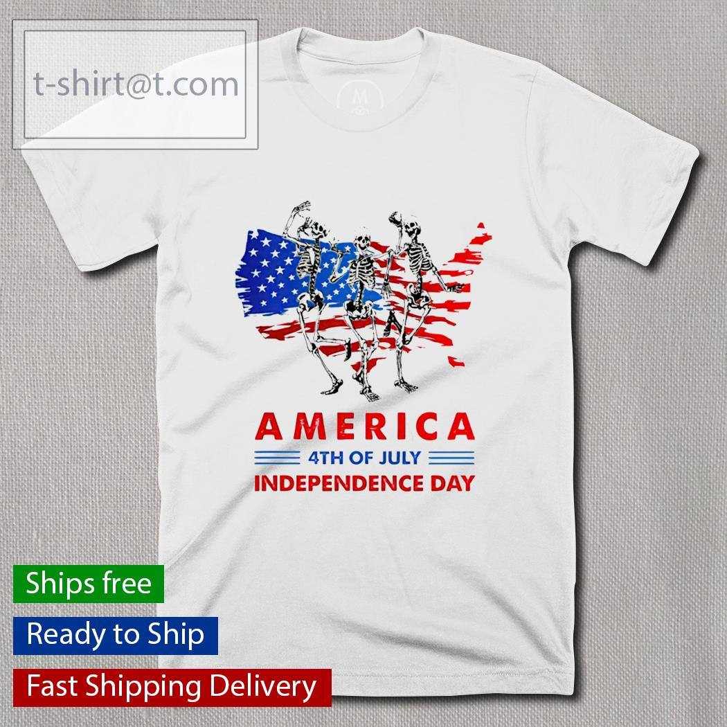 Skeleton Dancing America 4th Of July Independence Day shirt