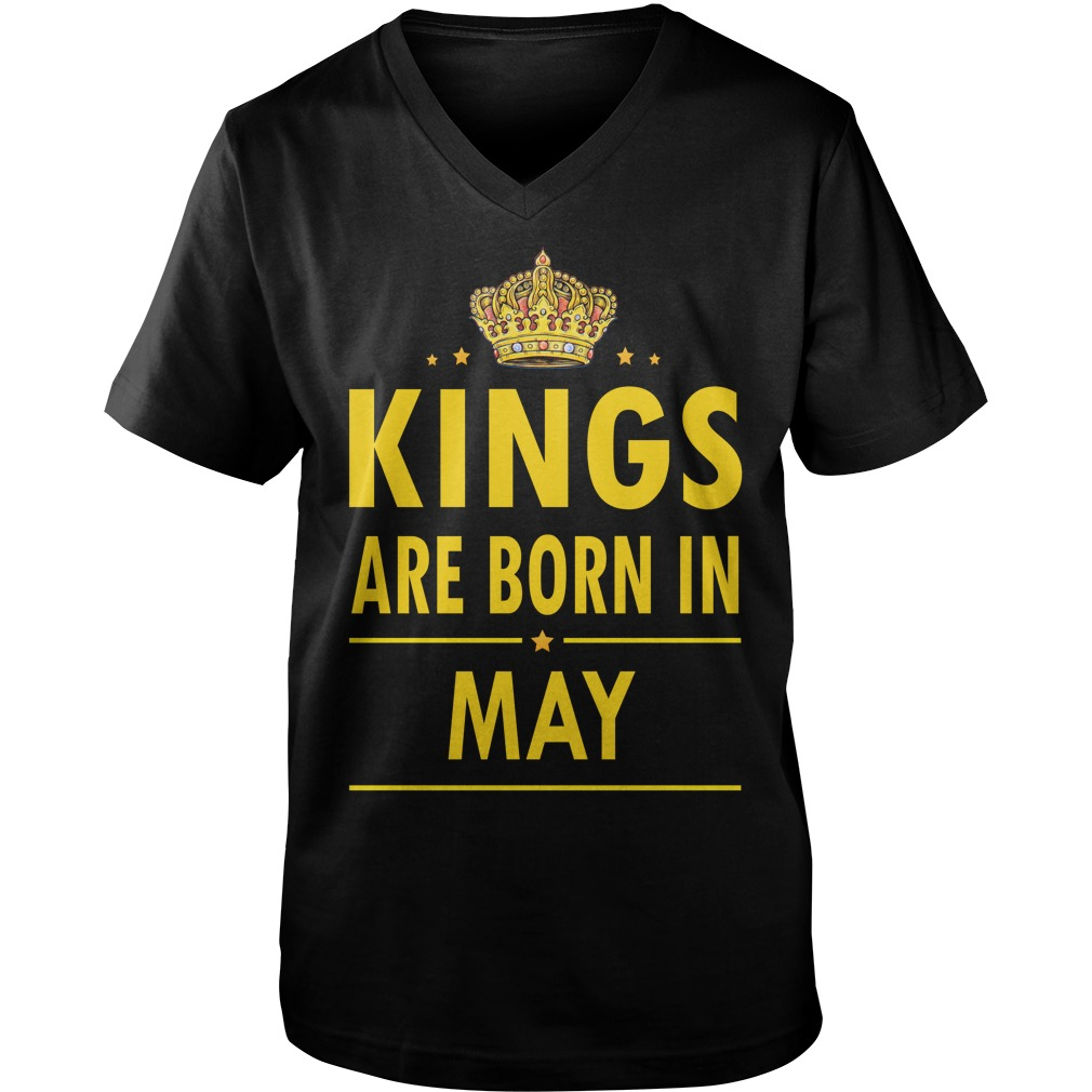Kings Are Born In May Guys V Neck