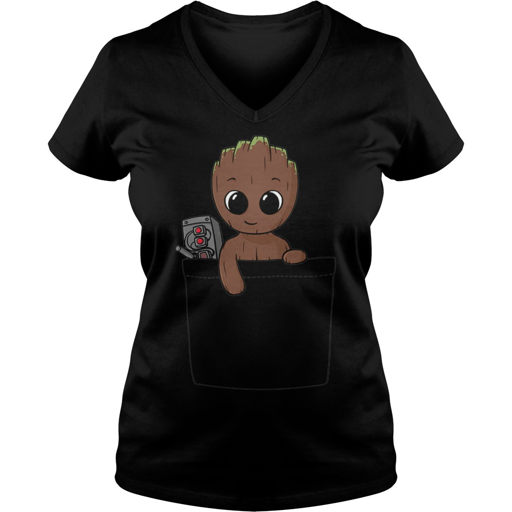 Baby Groot Ladies V Neck