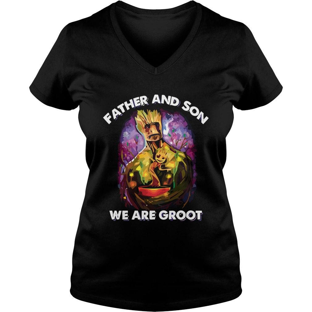 Father Son Groot Ladies V Neck