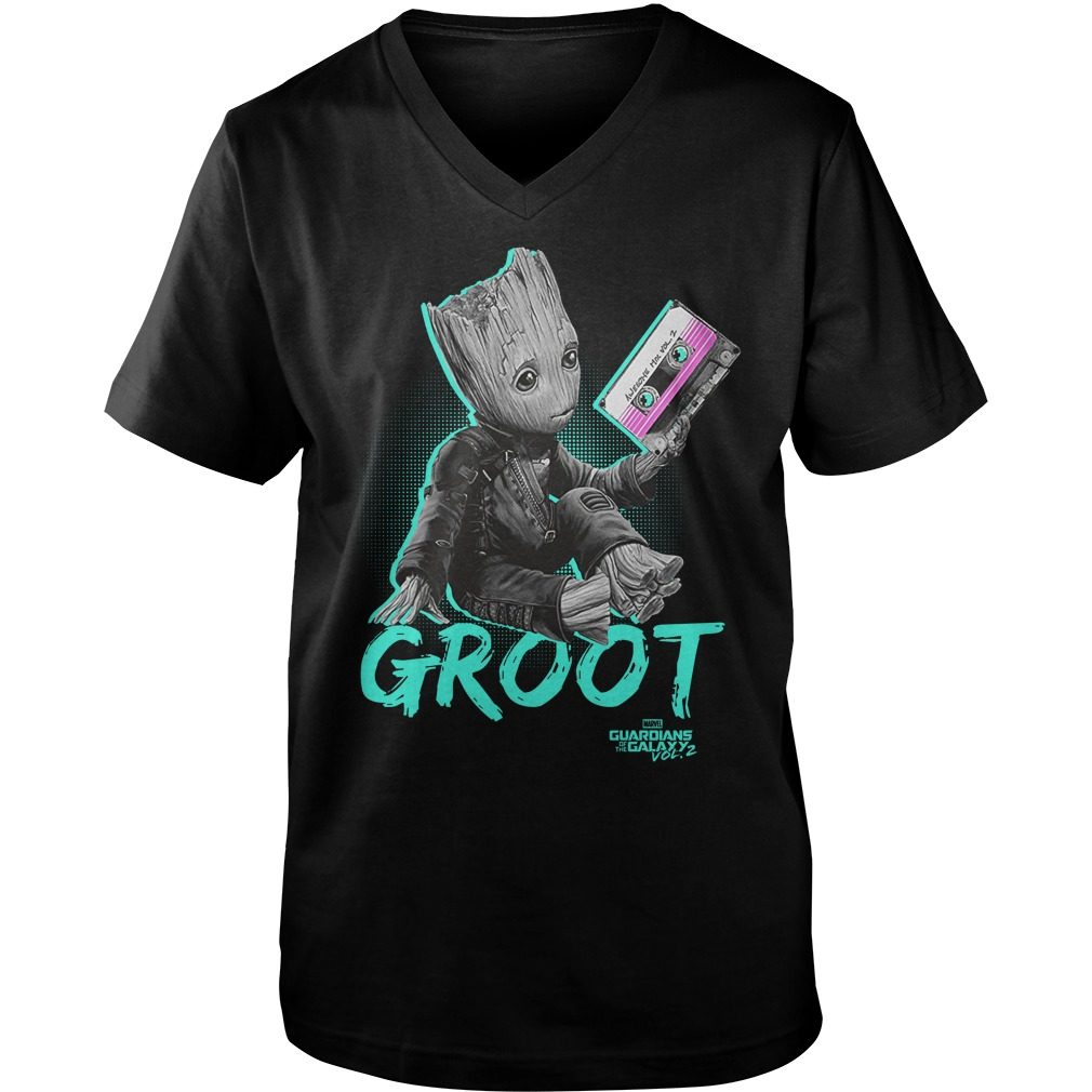 Groot Guardians Galaxy 2 Mix Tape Graphic Guys V Neck