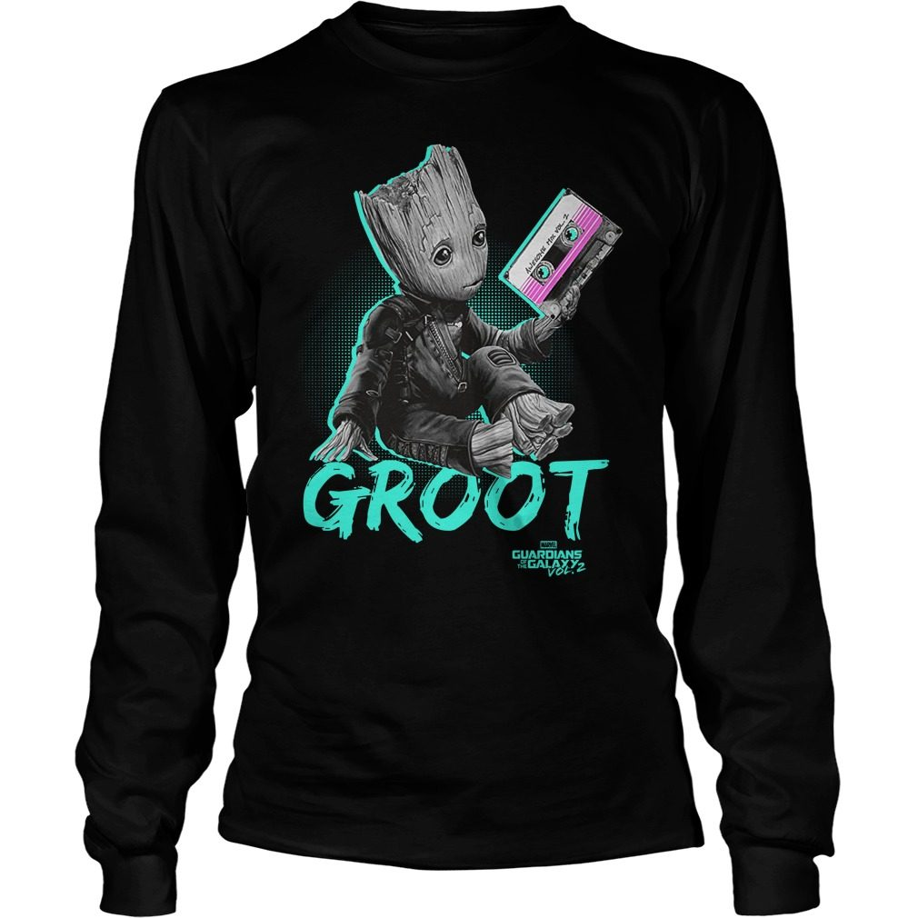 Groot Guardians Galaxy 2 Mix Tape Graphic Longsleeve Shirt