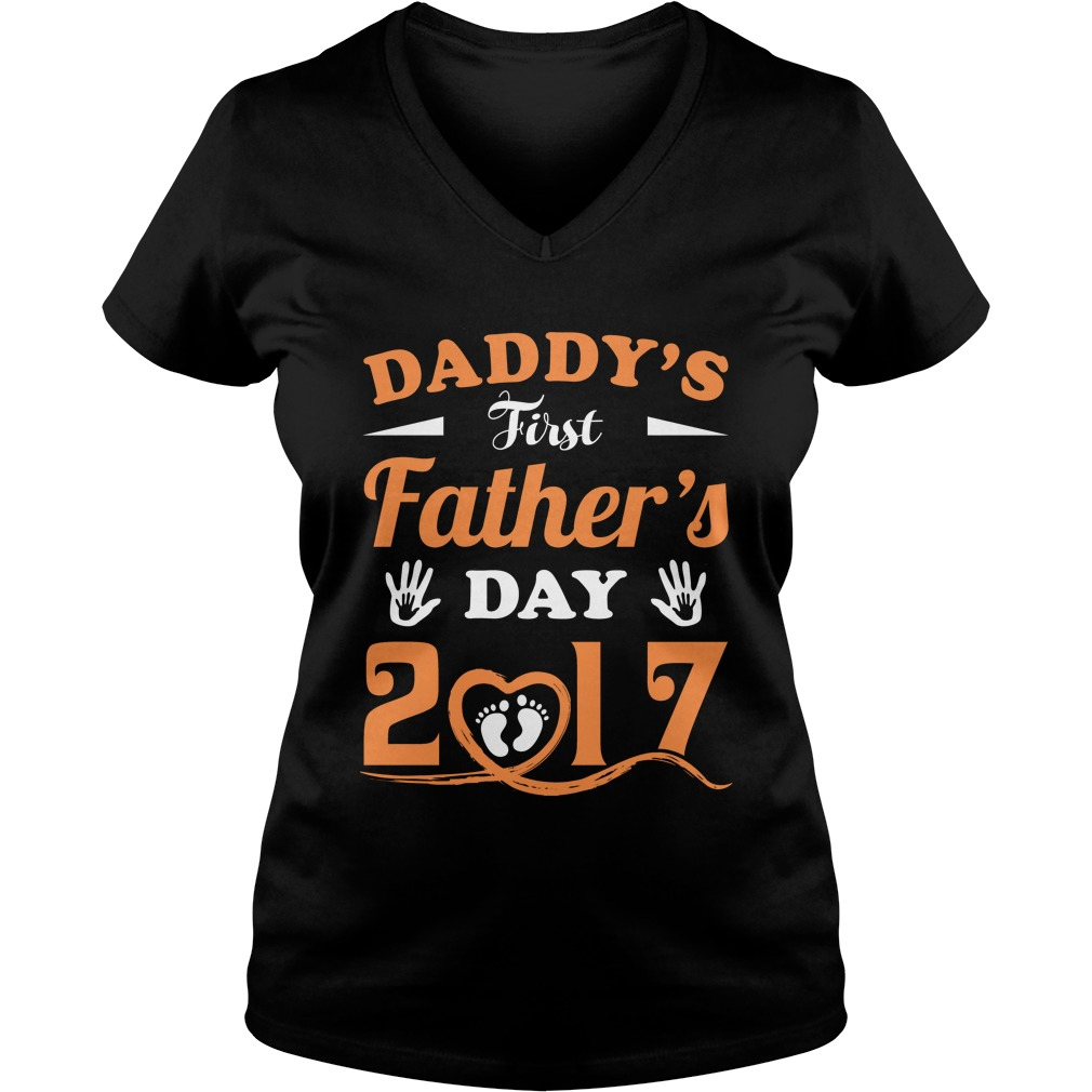 Daddys First Day V Neck T Shirt