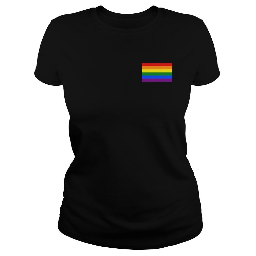 Gay Pride Flag Pocket Ladies Shirt