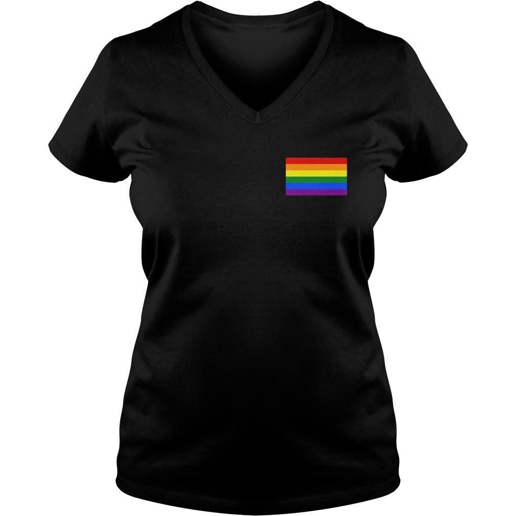Gay Pride Flag Pocket V Neck T Shirt