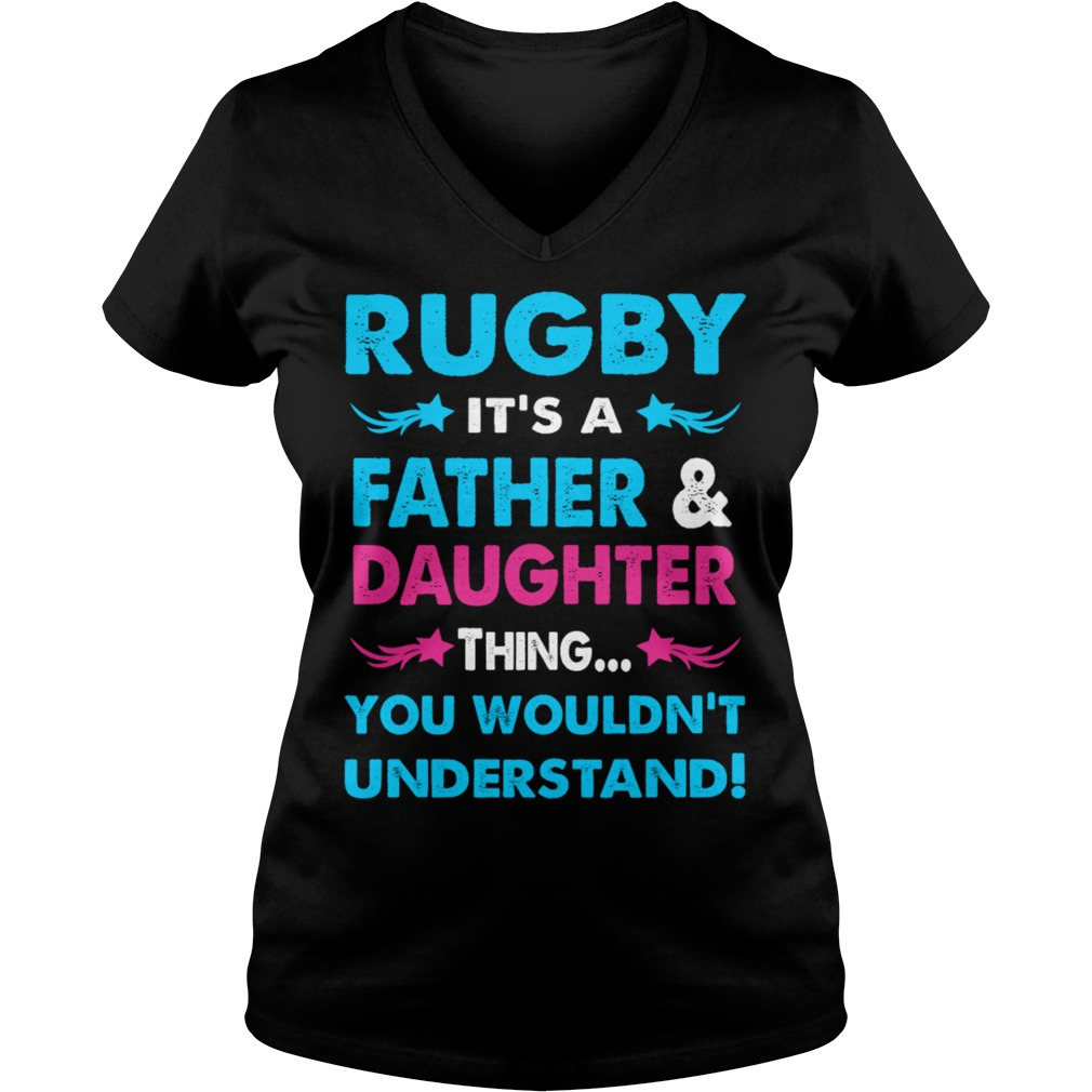 Rugby Father Daughter V Neck T Shirt