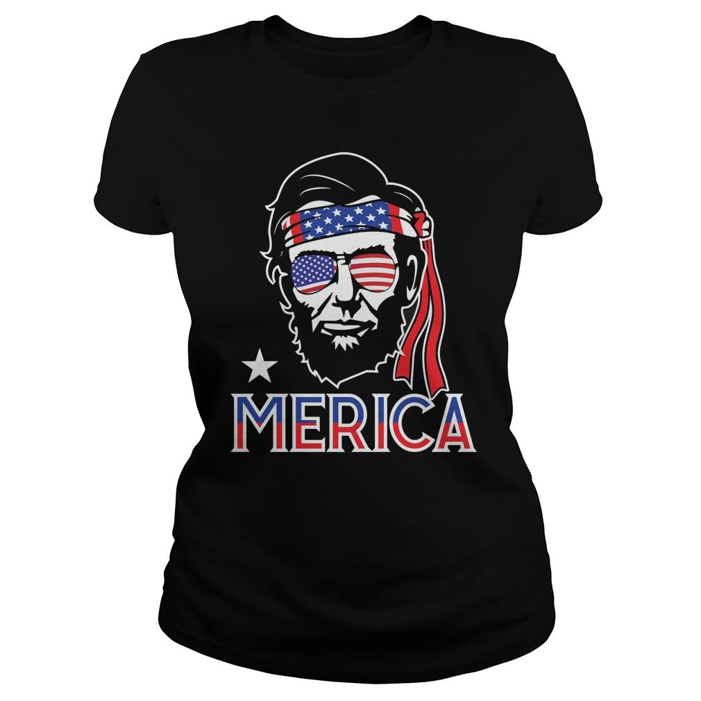 Abe Lincoln 4th July Hip American Ladies Shirt