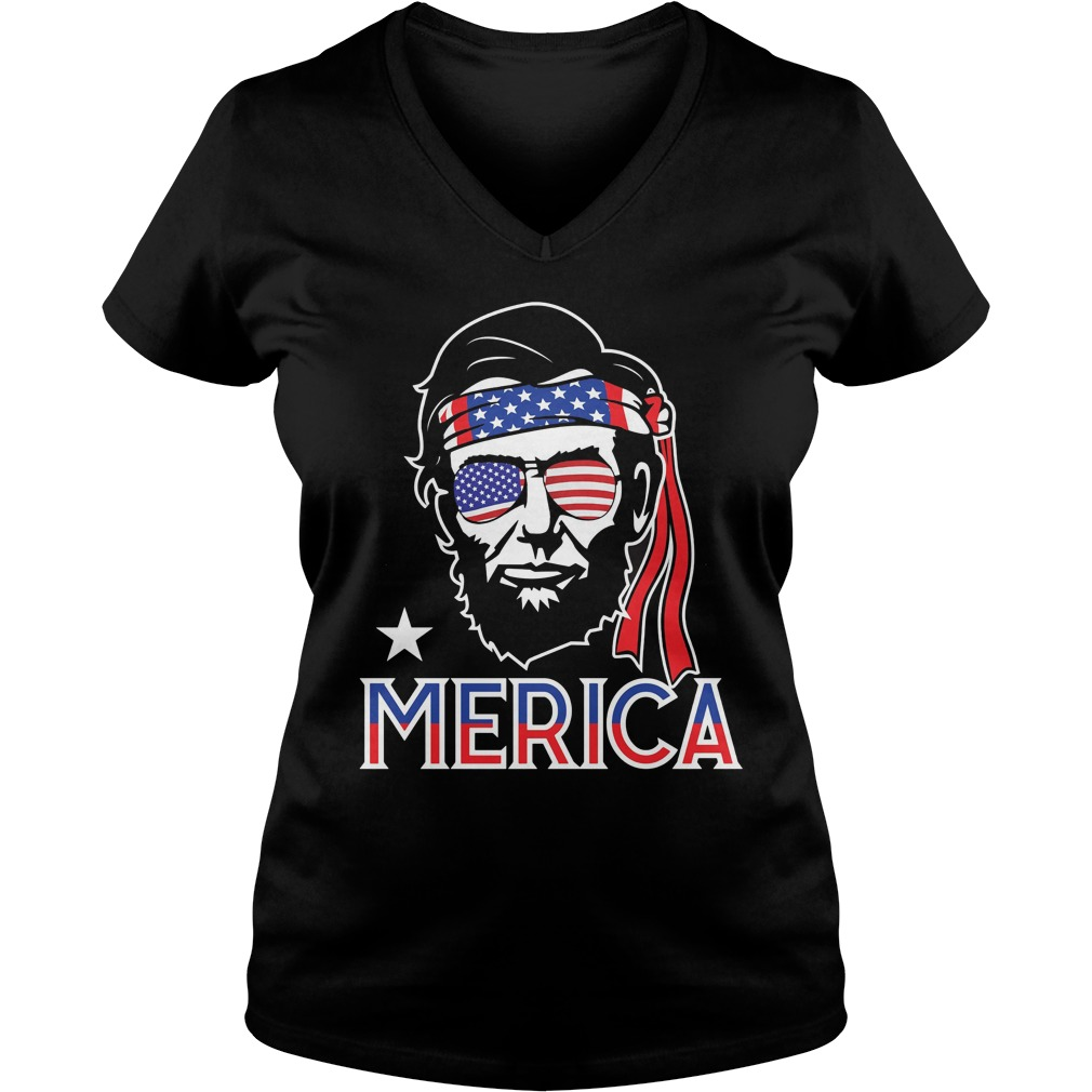 Abe Lincoln 4th July Hip American V Neck T Shirt