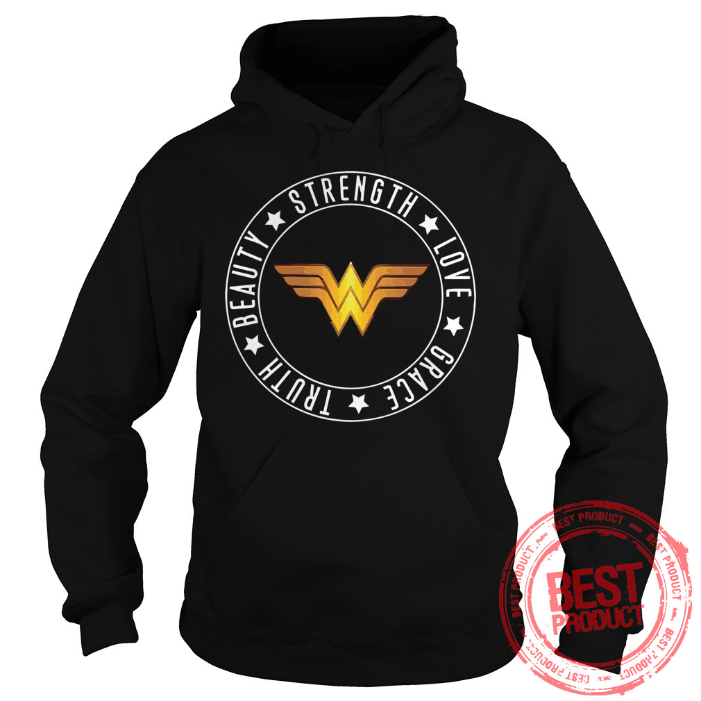 Strength Love Grace Truth Beauty Wonder Woman Logo Hoodie 1
