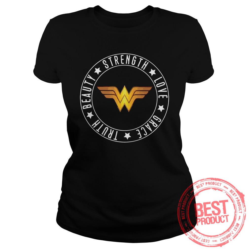 Strength Love Grace Truth Beauty Wonder Woman Logo Ladies Tee 1