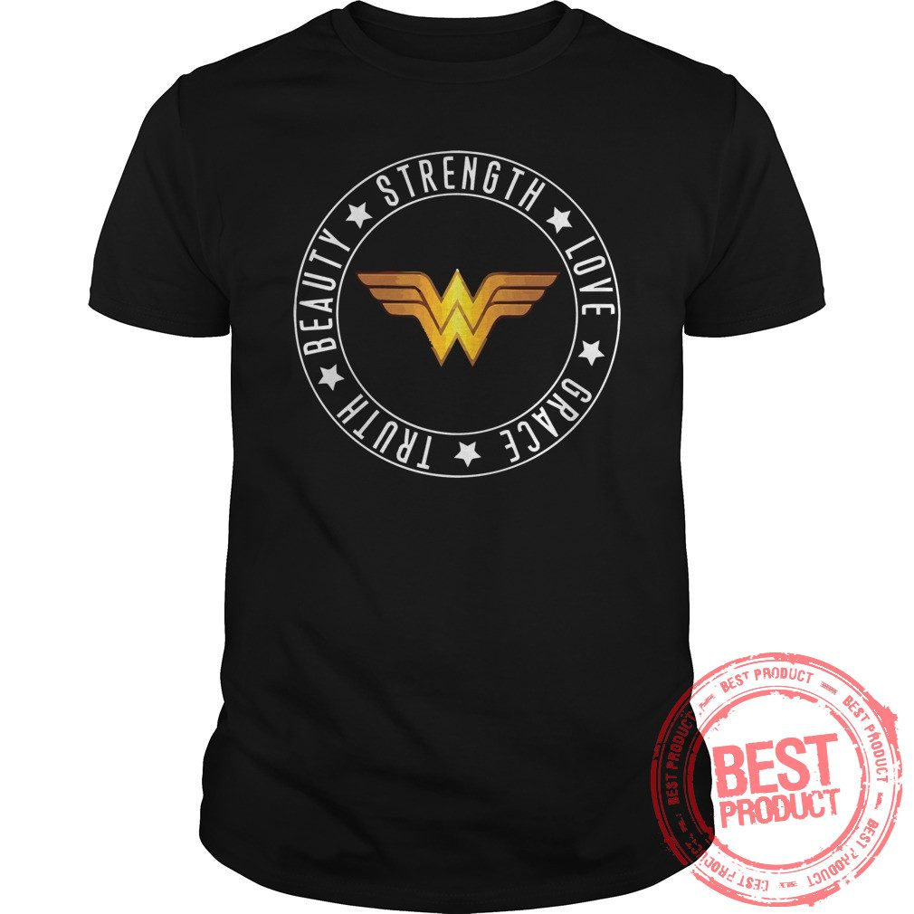 Strength Love Grace Truth Beauty Wonder Woman Logo Shirt 1
