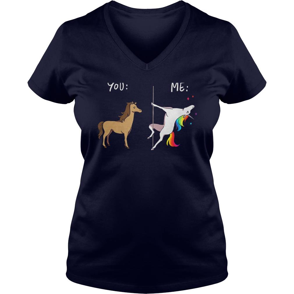 Unicorn Horse Pole Dancing V Neck T Shirt