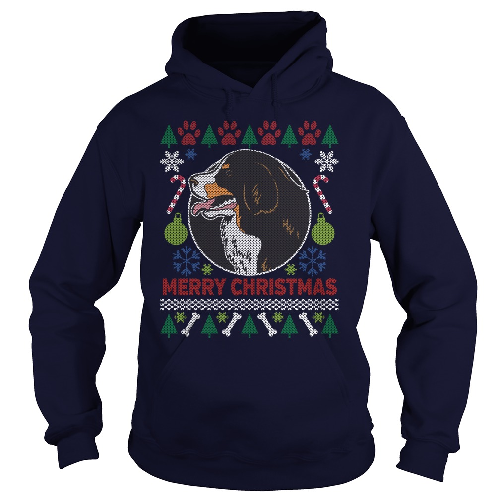 Bernese Mountain Dog Breed Ugly Christmas Hoodie
