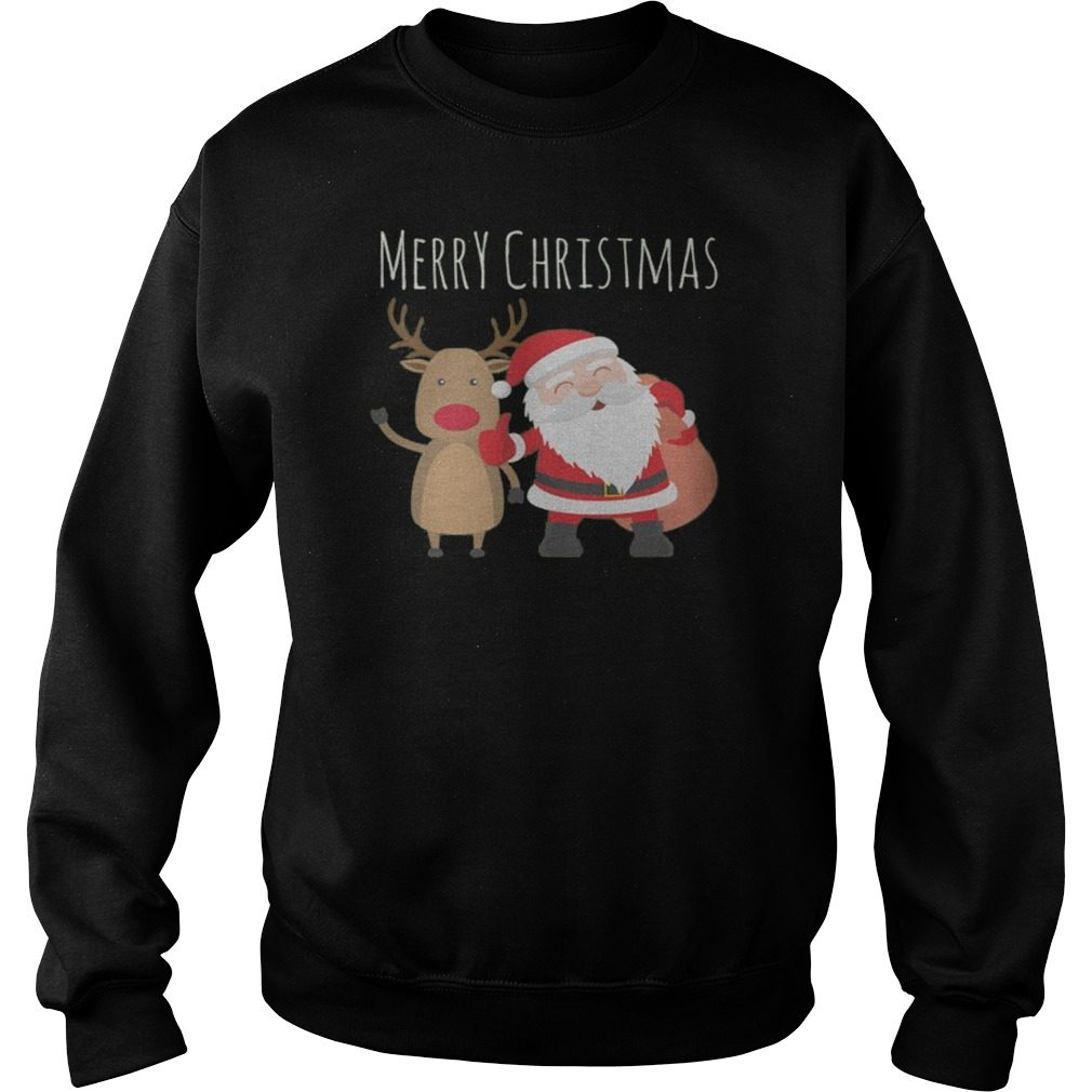 Merry Christmas Santa Claus And His Reindeer Sweater