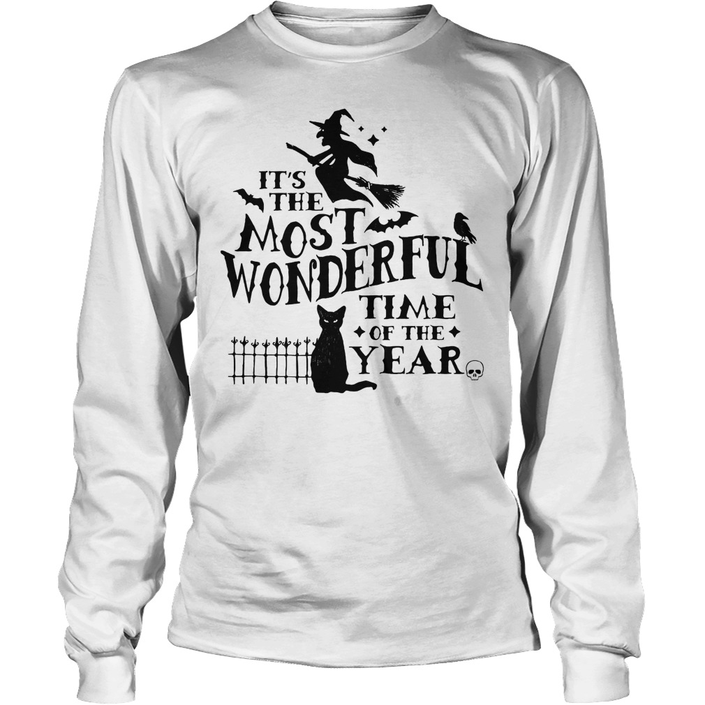 It's The Most Wonderful Time Of The Year Witch And Cat Longsleeve Tee