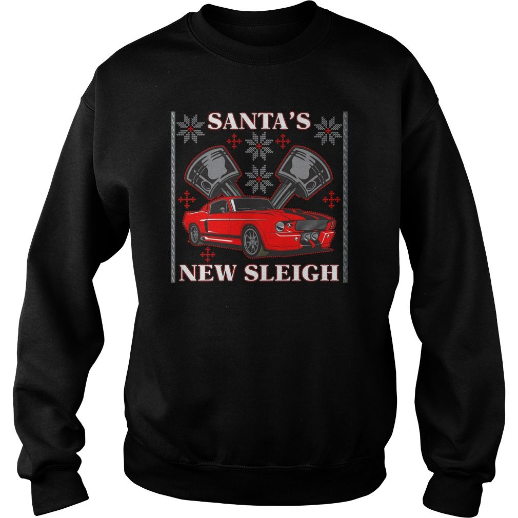 Santas New Sleigh Muscle Car Pistons Ugly Christmas Sweater