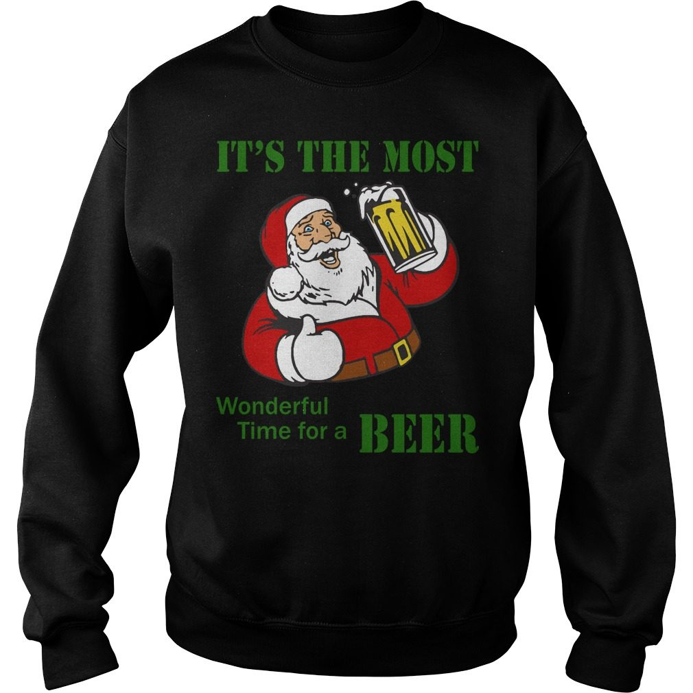 It's The Most Wonderful Time For Beer Santa Funny Christmas Men Sweater