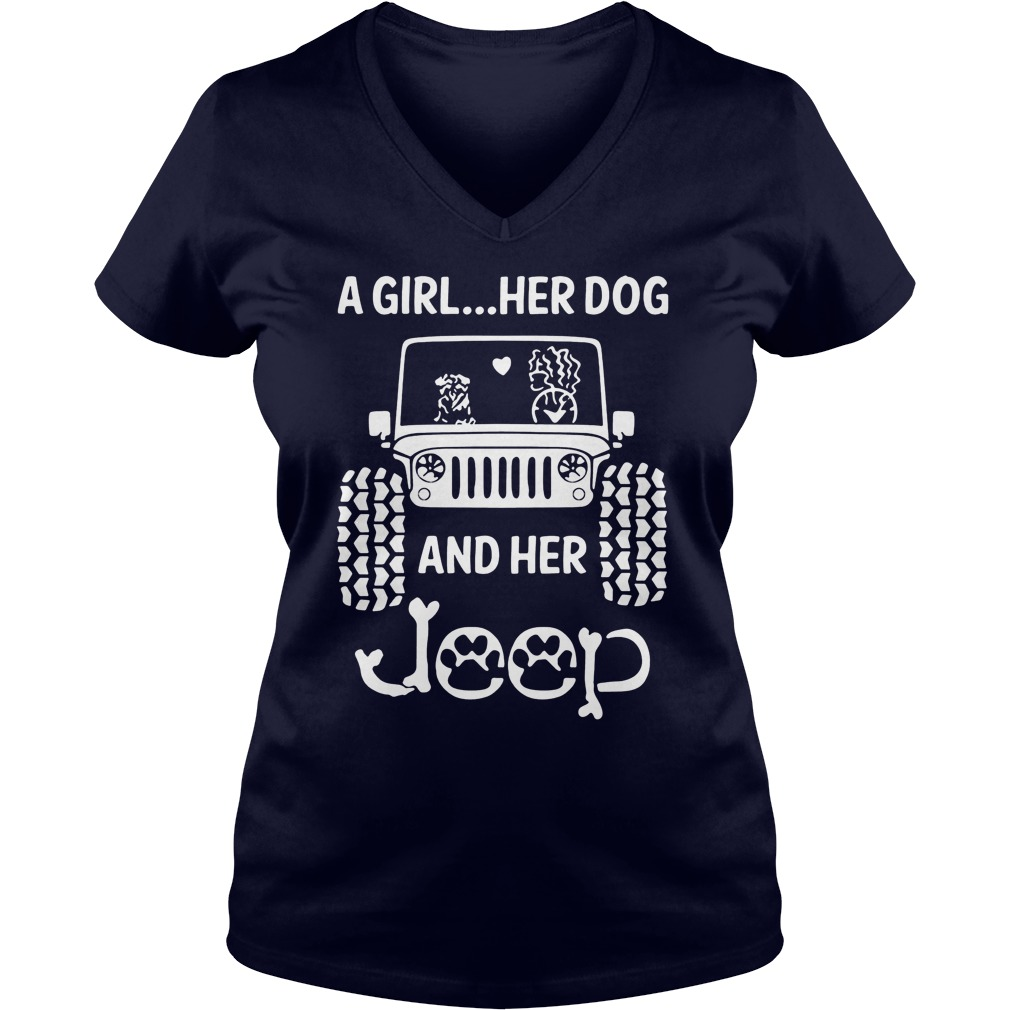 Girl Dog Jeep V Neck T Shirt