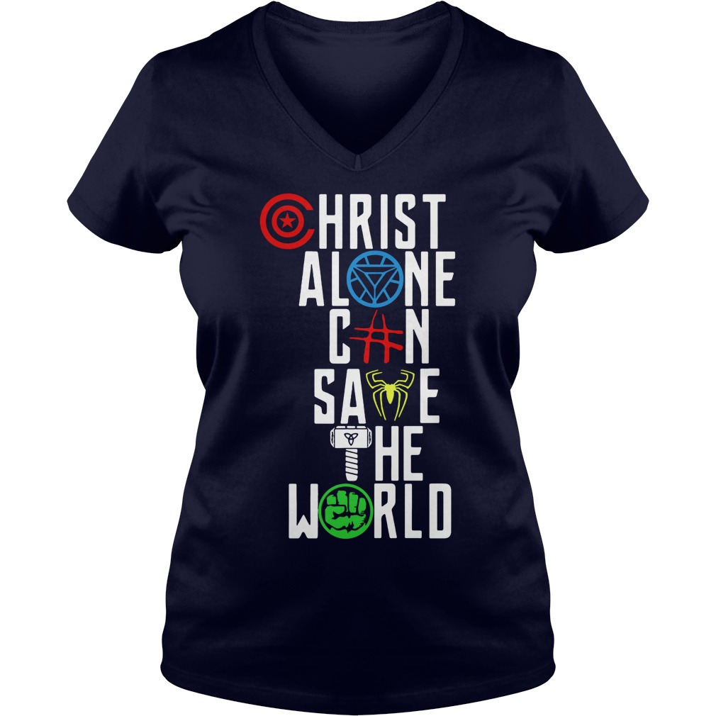 Justice League Christ Alone Can Save World V Neck T Shirt