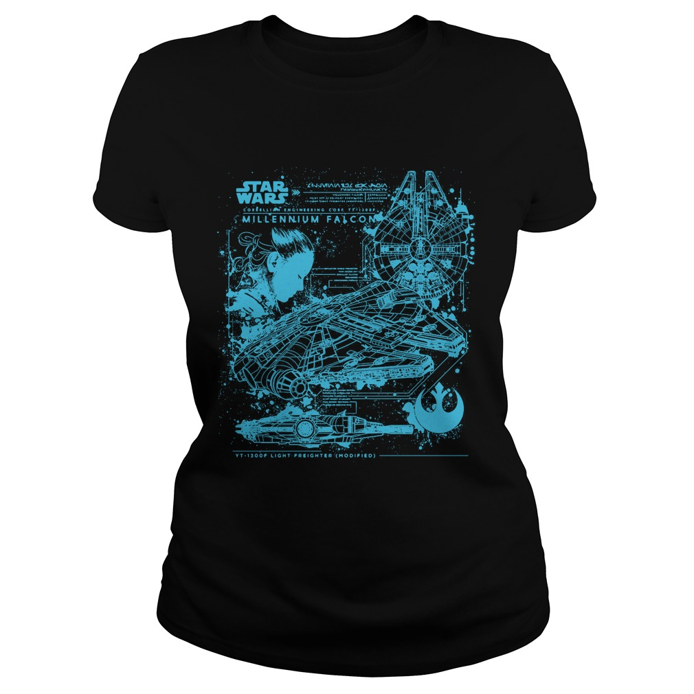 Millennium Falcon Blueprint Ladies Tee