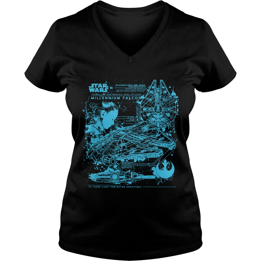 Millennium Falcon Blueprint V-neck t-shirt