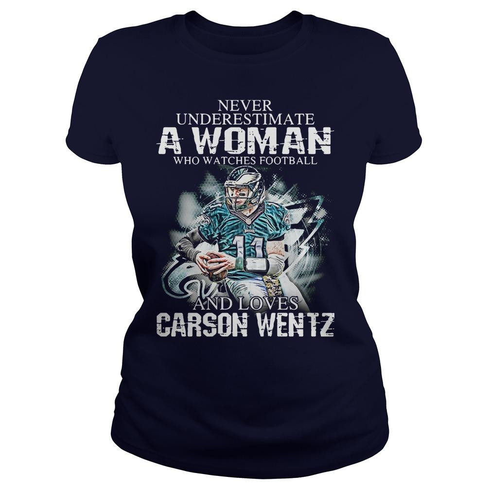 Never Underestimate Woman Watches Football Love Carson Wentz Ladies Tee