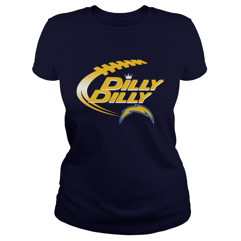 Offical Dilly Dilly Los Angeles Chargers Nfl Football Bud Light Logo Ladies Tee