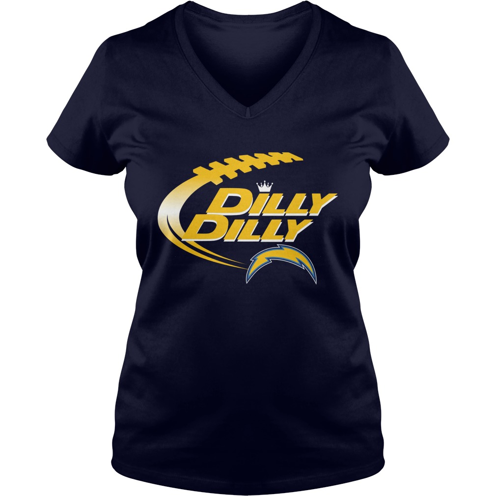 Offical Dilly Dilly Los Angeles Chargers Nfl Football Bud Light Logo V Neck T Shirt