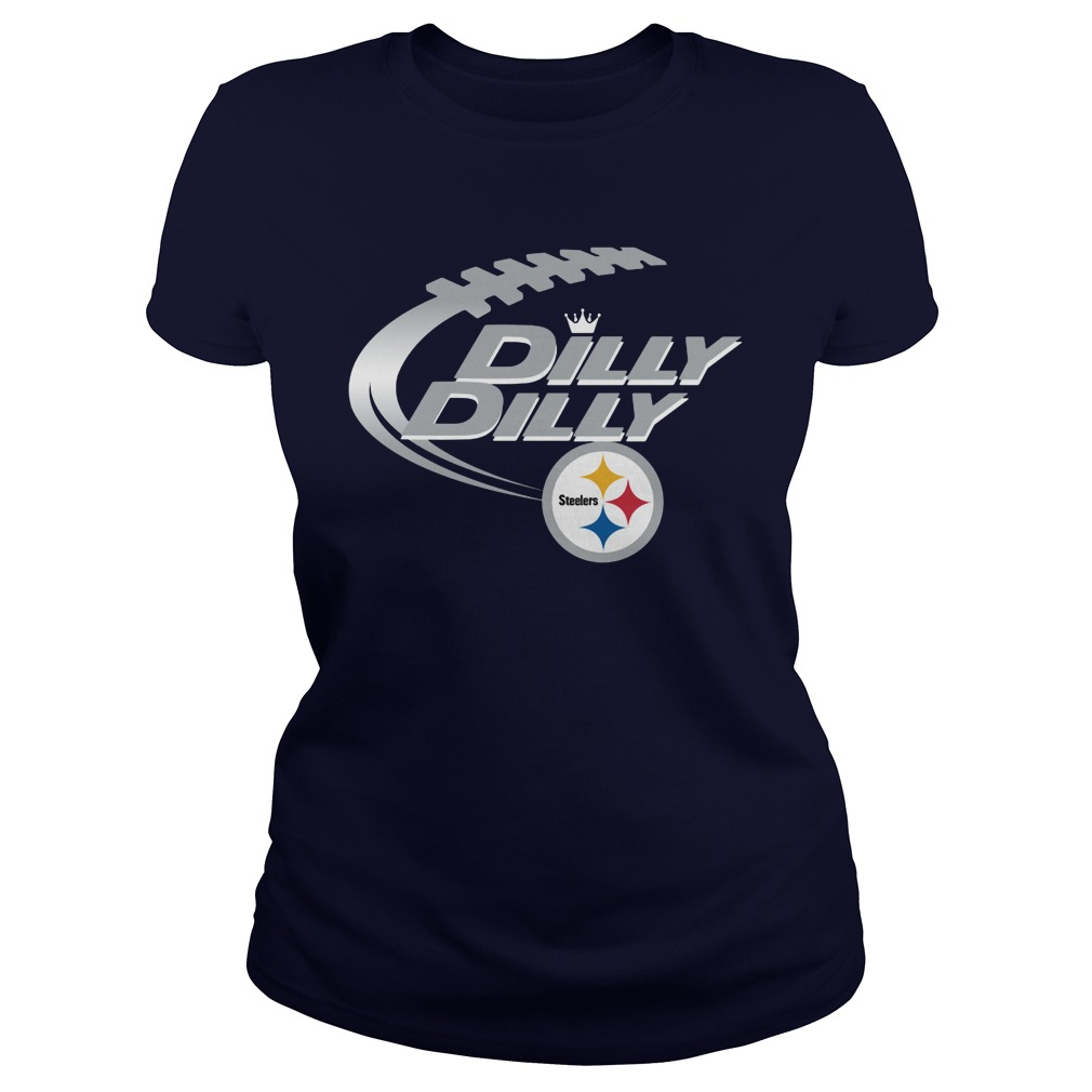 Offical Dilly Dilly Pittsburgh Steelers Nfl Football Bud Light Logo Ladies Tee
