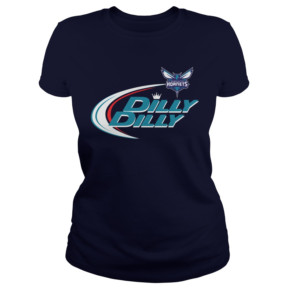 Official Dilly Dilly Charlotte Hornets Bud Light Baseball Ladies Tee