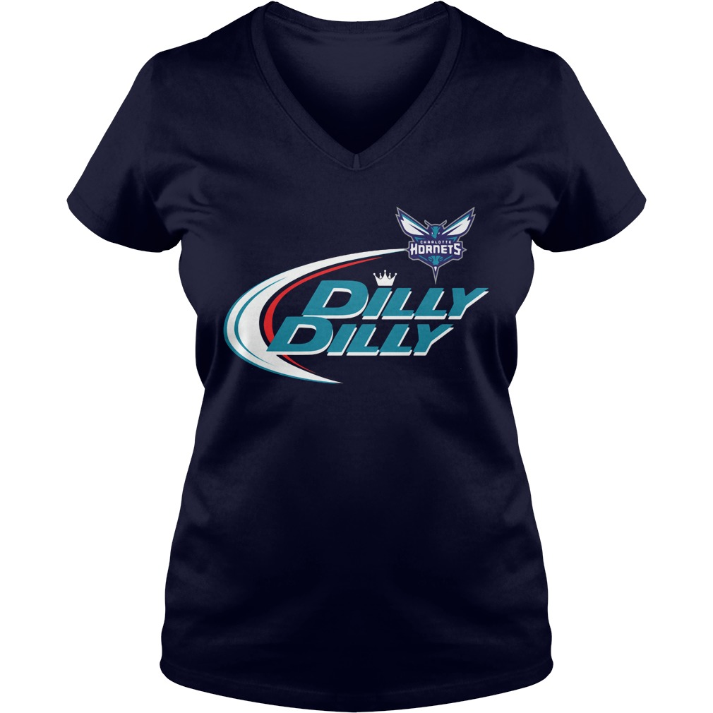 Official Dilly Dilly Charlotte Hornets Bud Light Baseball V Neck T Shirt