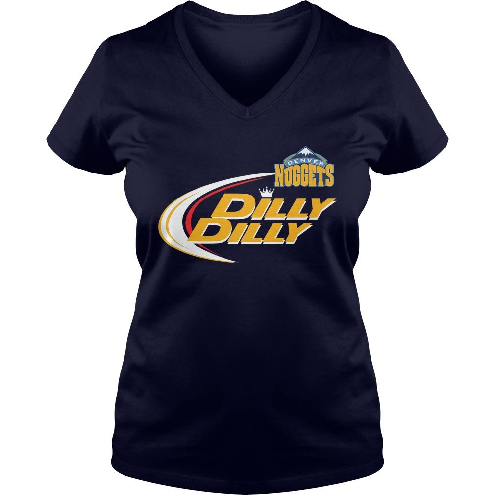 Official Dilly Dilly Denver Nuggets Bud Light Baseball V Neck T Shirt