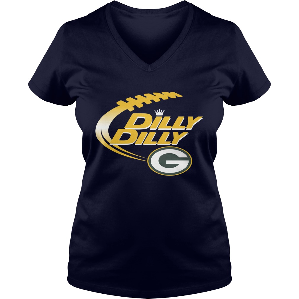 Official Dilly Dilly Green Bay Packers Nfl Football Bud Light Logo V Neck T Shirt