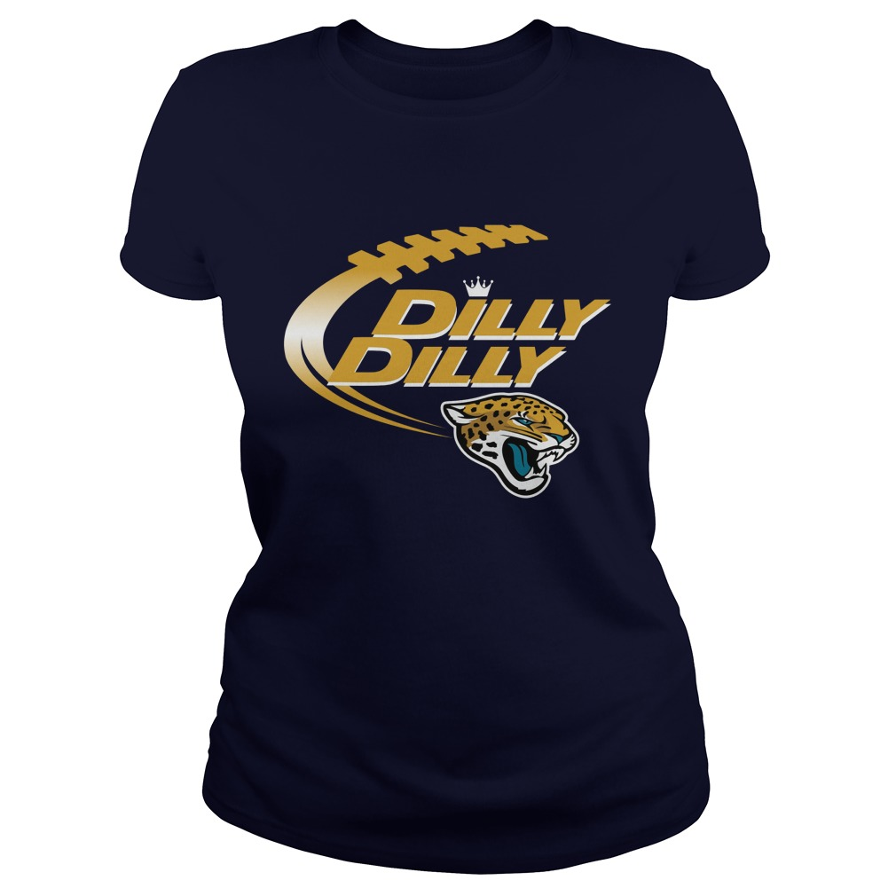 Official Dilly Dilly Jacksonville Jaguars Nfl Football Bud Light Logo Ladies Tee
