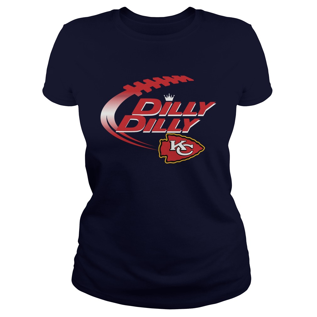 Official Dilly Dilly Kansas City Chiefs Nfl Football Bud Light Logo Ladies Tee