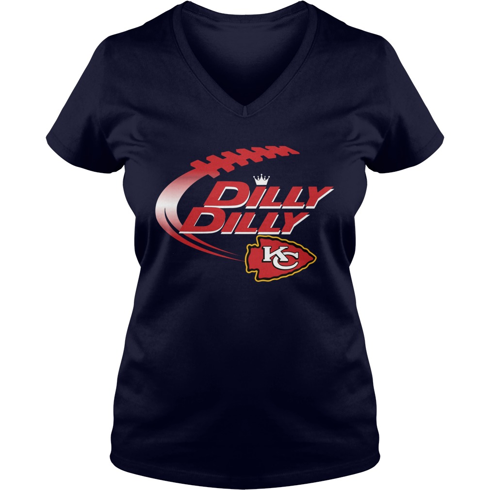 Official Dilly Dilly Kansas City Chiefs Nfl Football Bud Light Logo V Neck T Shirt