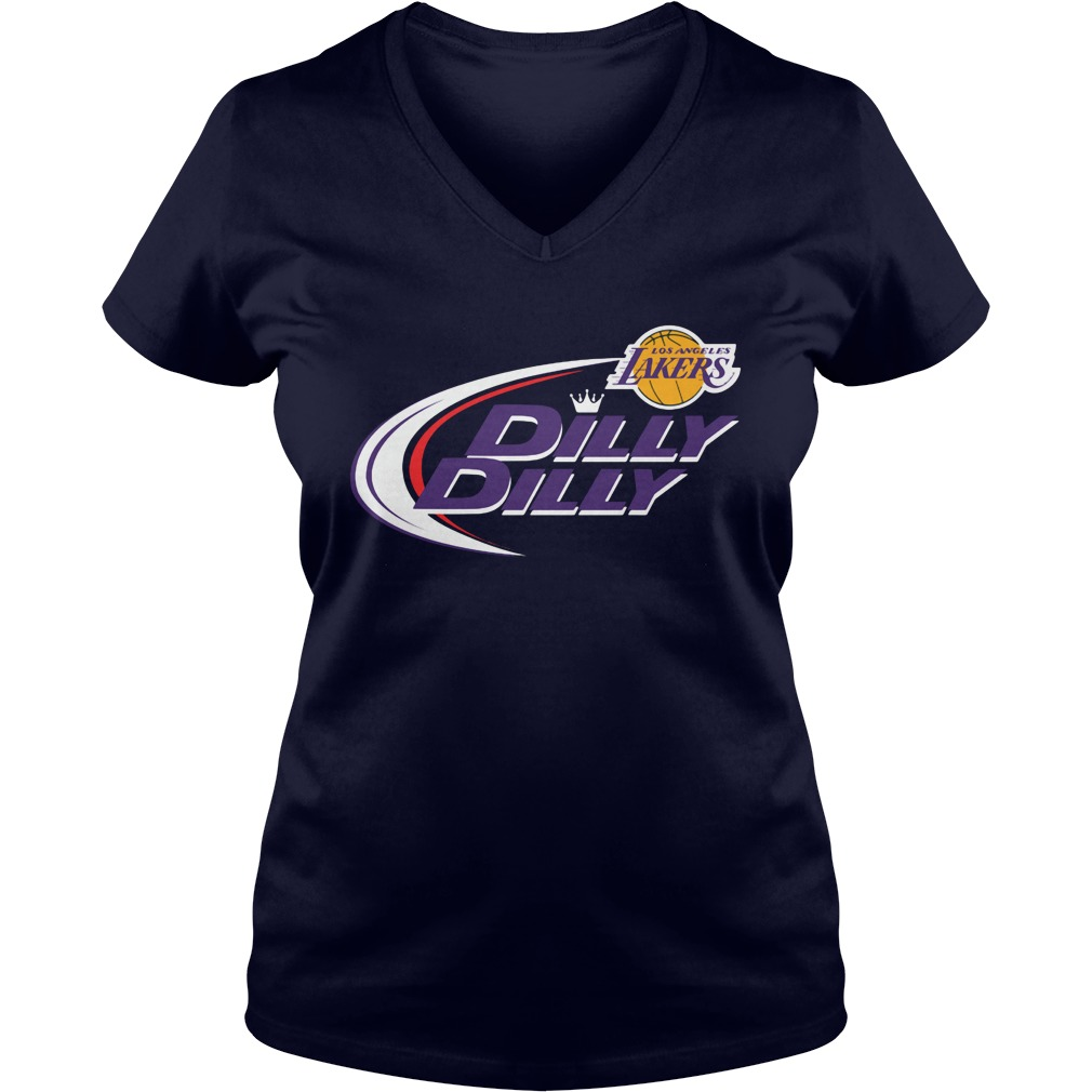 Official Dilly Dilly Los Angeles Lakers Bud Light Baseball V Neck T Shirt