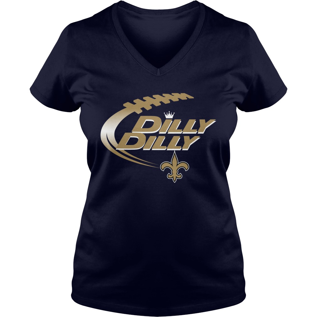Official Dilly Dilly New Orleans Saints Nfl American Football Bud Light Logo V Neck T Shirt
