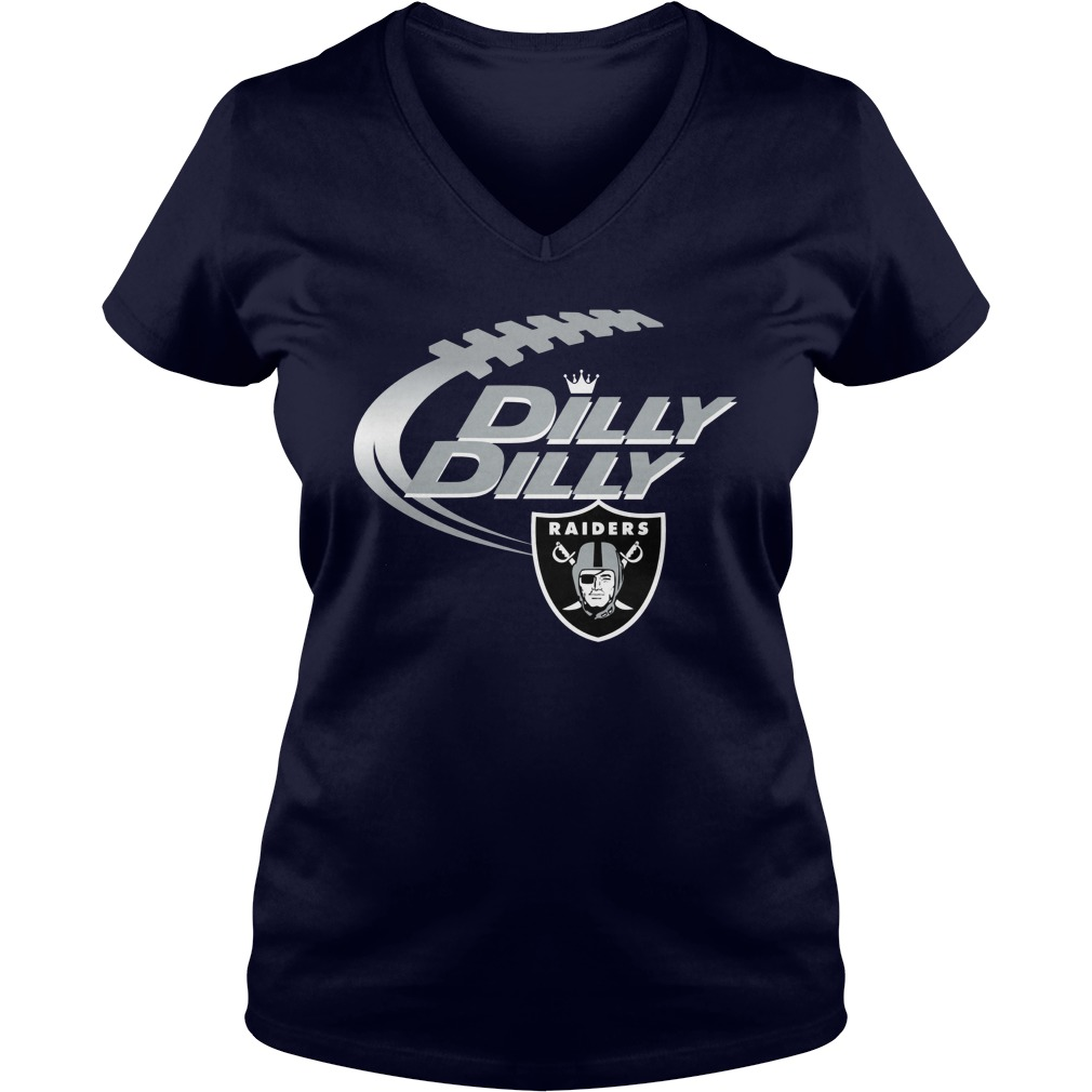 Official Dilly Dilly Oakland Raiders Nfl Football Bud Light Logo V Neck T Shirt